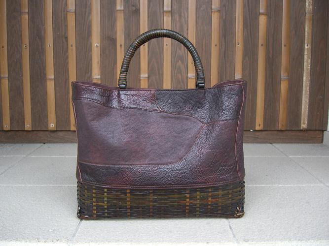 レザーと竹のバッグ