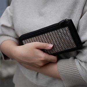 竹とレザーの財布