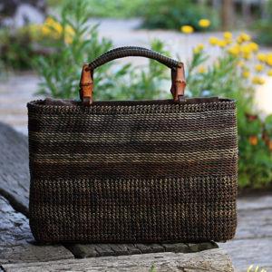 石畳編みボーダーバッグ
