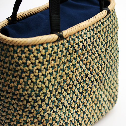 交色桜編みバッグ