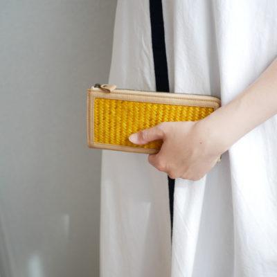 竹網代編み長財布