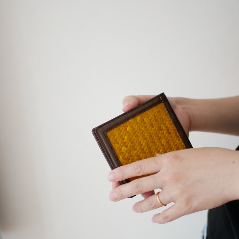 竹網代編み二つ折り財布