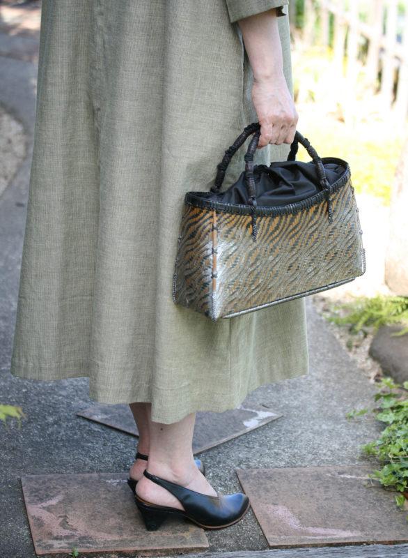 竹波網代編みバッグ