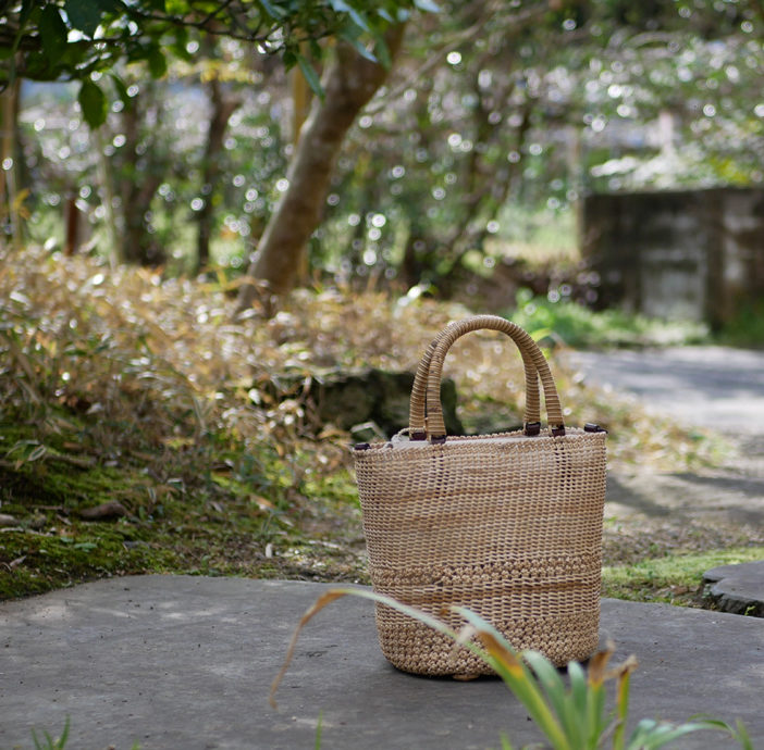 桜編み×コイル編みバッグ