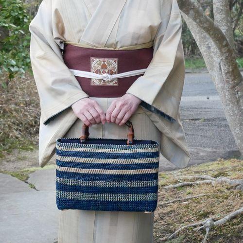 NEW 石畳編みボーダーバッグ