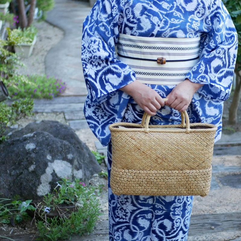 桜×網代編みバッグ