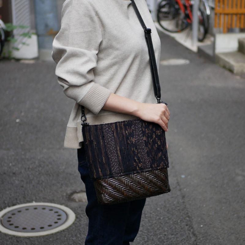 網代編み×絣裂き織コラボショルダーバッグ