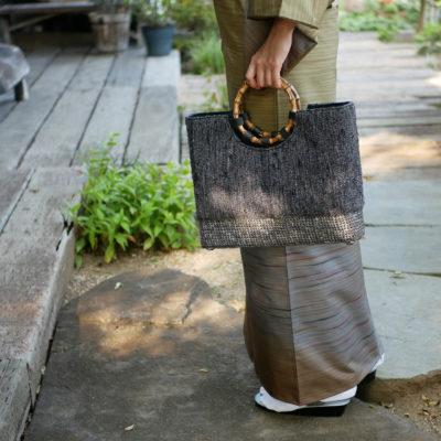 石畳×絣裂き織コラボバッグ