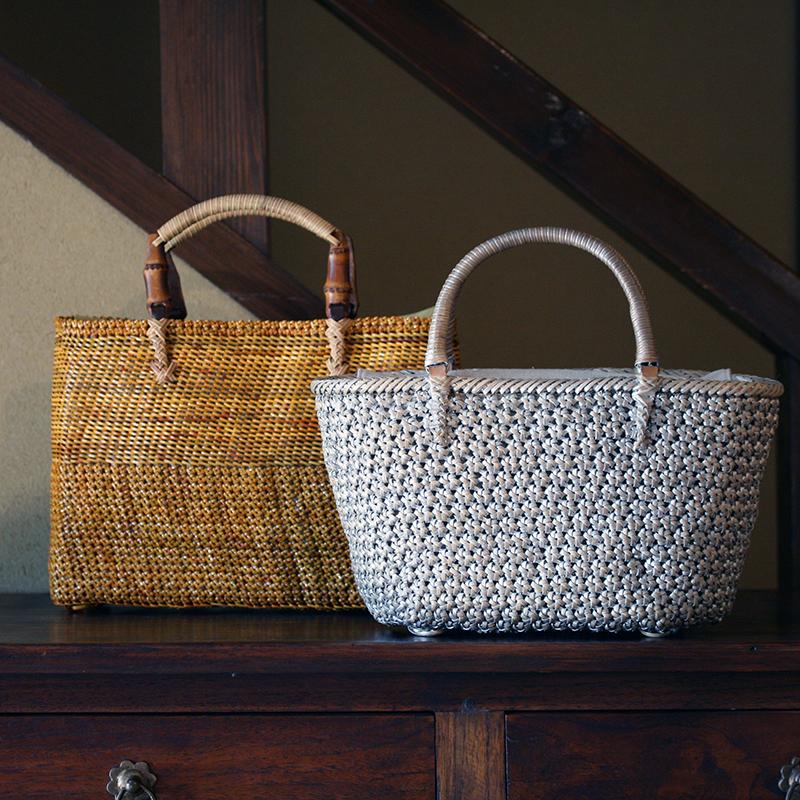 石畳み編みバッグ桜編みバッグ