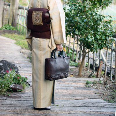 馬革×桜編みバッグ