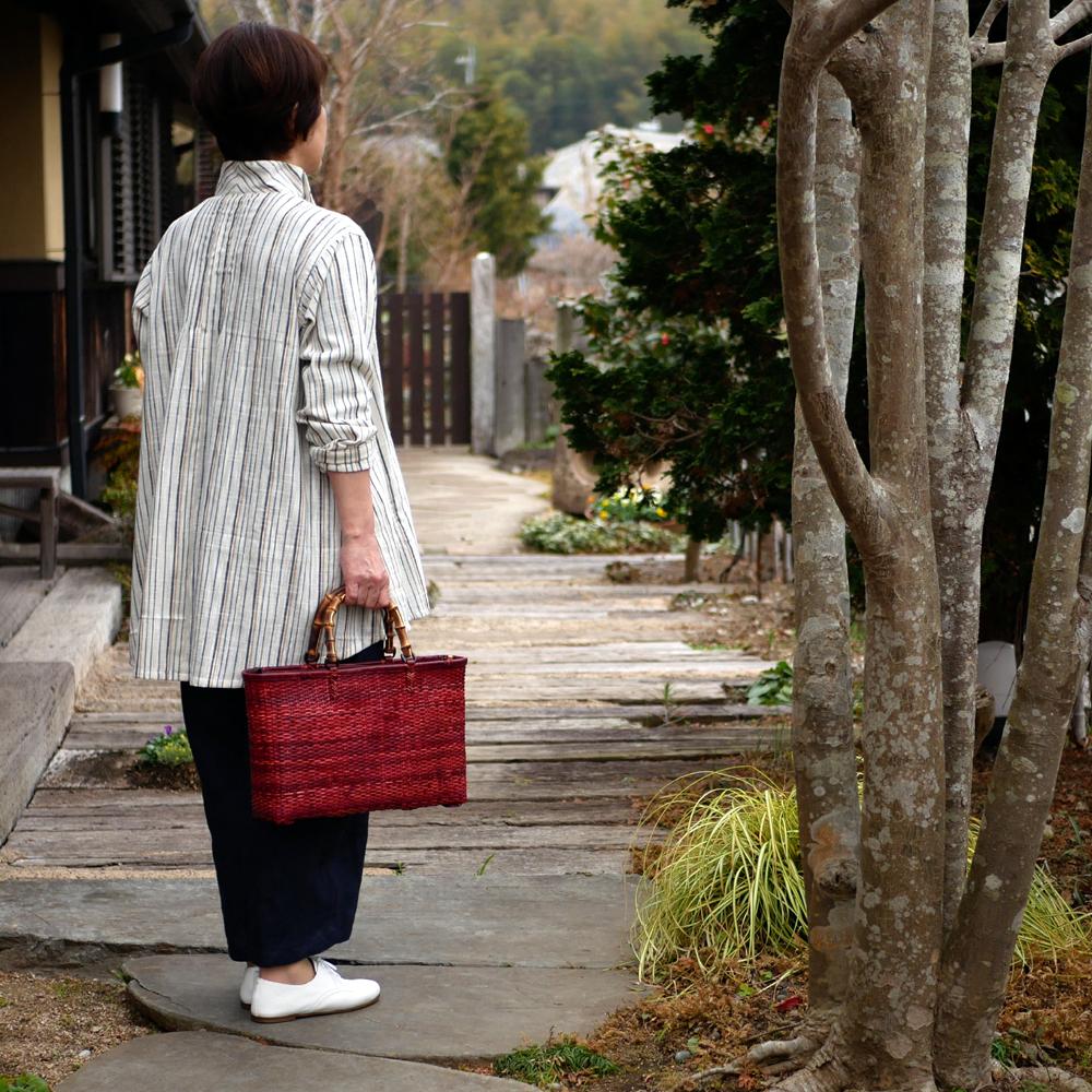 ゴザ目編みバッグ