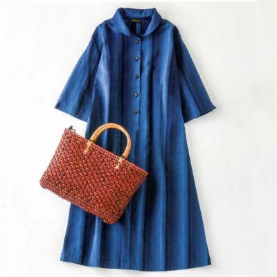 桜編みバッグと久留米絣ワンピース