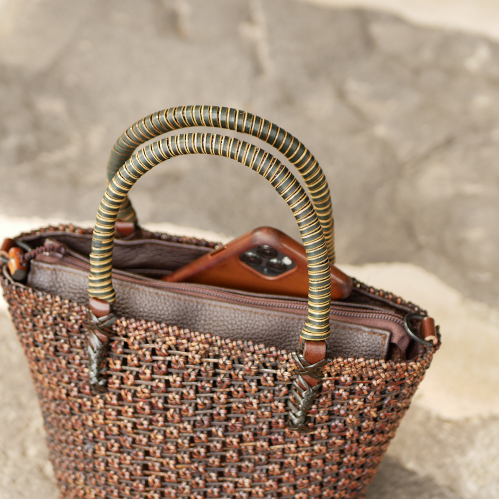 透かし桜編みバッグ