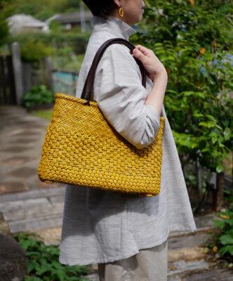 桜×透かし桜×透かし網代編みバッグ