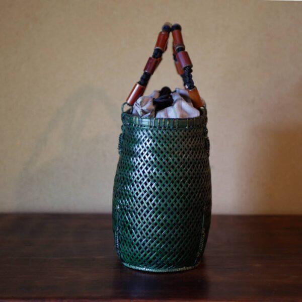 透かし網代編みバッグ
