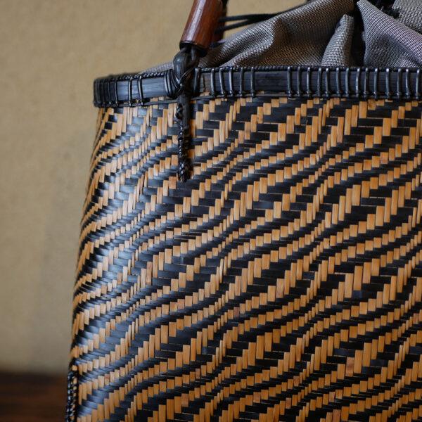 竹交色波網代編み