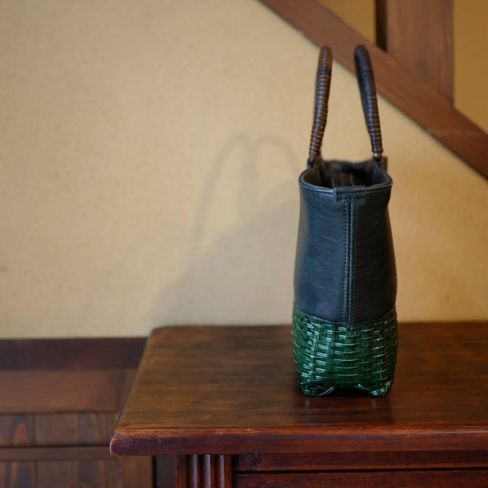 籐と馬革のコラボバッグ・扇形