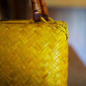竹網代編みボストンバッグ